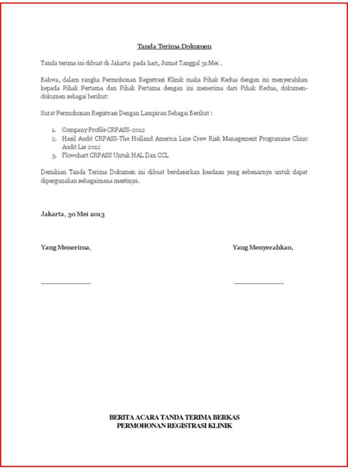 Surat Serah Terima Dokumen Perusahaan