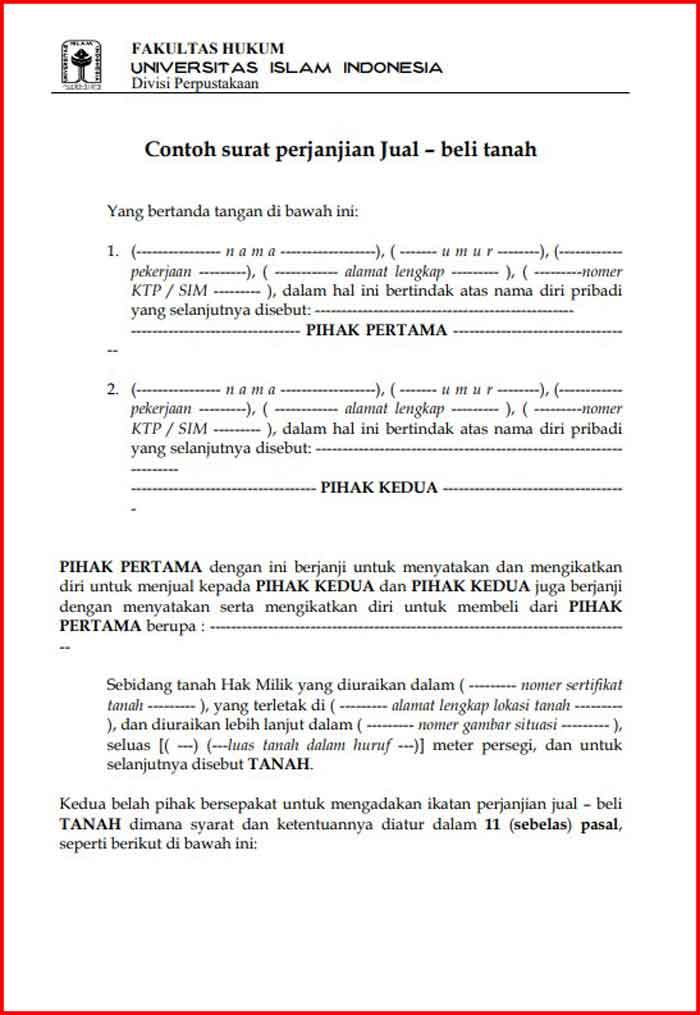 Surat Perjanjian Jual Beli Tanah Format PDF