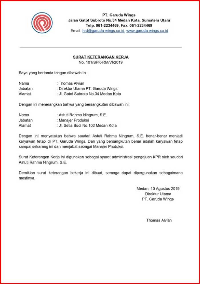 Surat Keterangan Kerja KPR