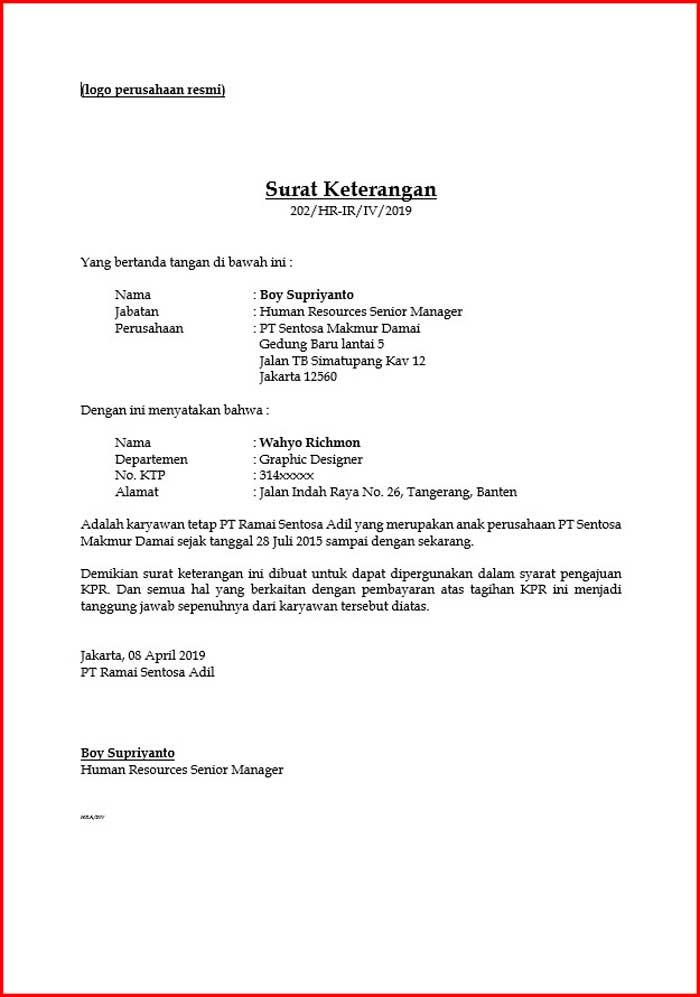 Surat Ketrangan Kerja Format DOC
