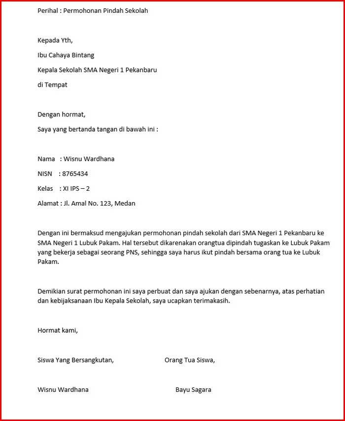 Surat Mutasi Siswa dari Siswa Untuk Sekolah