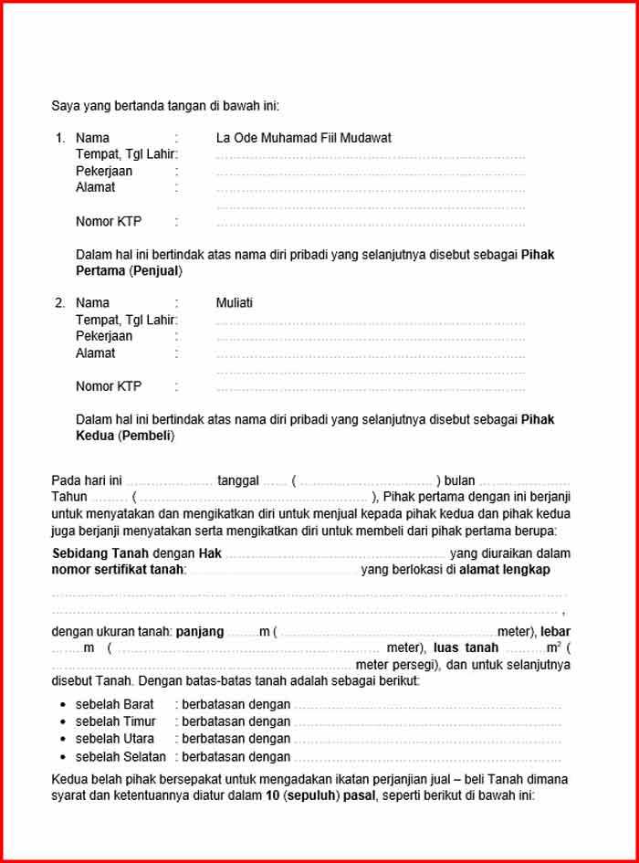 Surat Perjanjian Jual Beli Tanah Format DOC