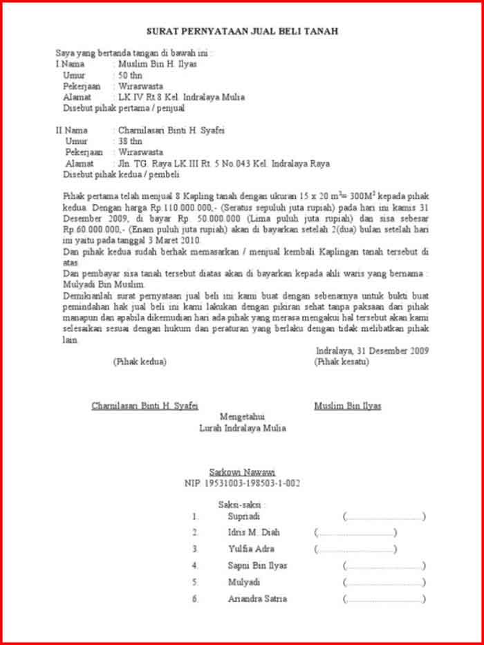 Surat Perjanjian Jual Beli Tanah