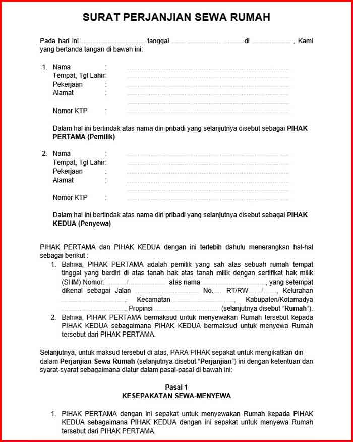 Surat Perjanjian Kontrak Format DOC