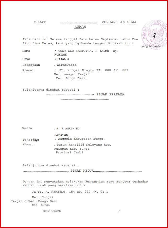 Surat Perjanjian Kontrak Rumah Format PDF