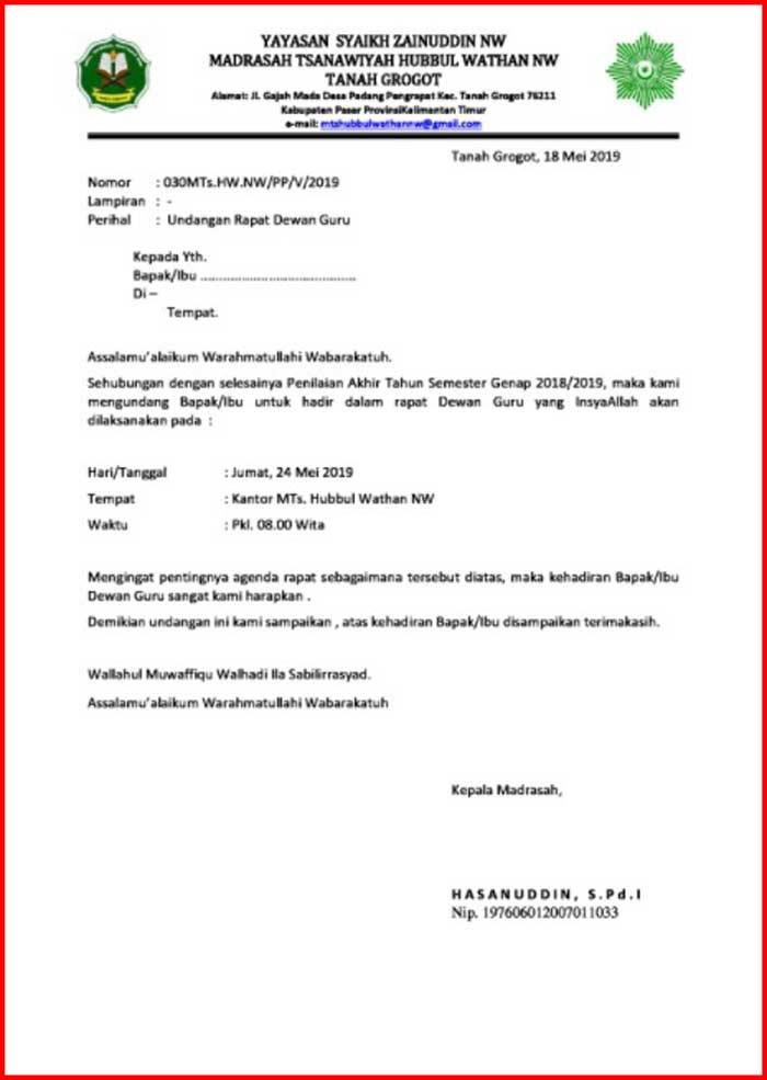 Surat Undangan Rapat Dewan Guru