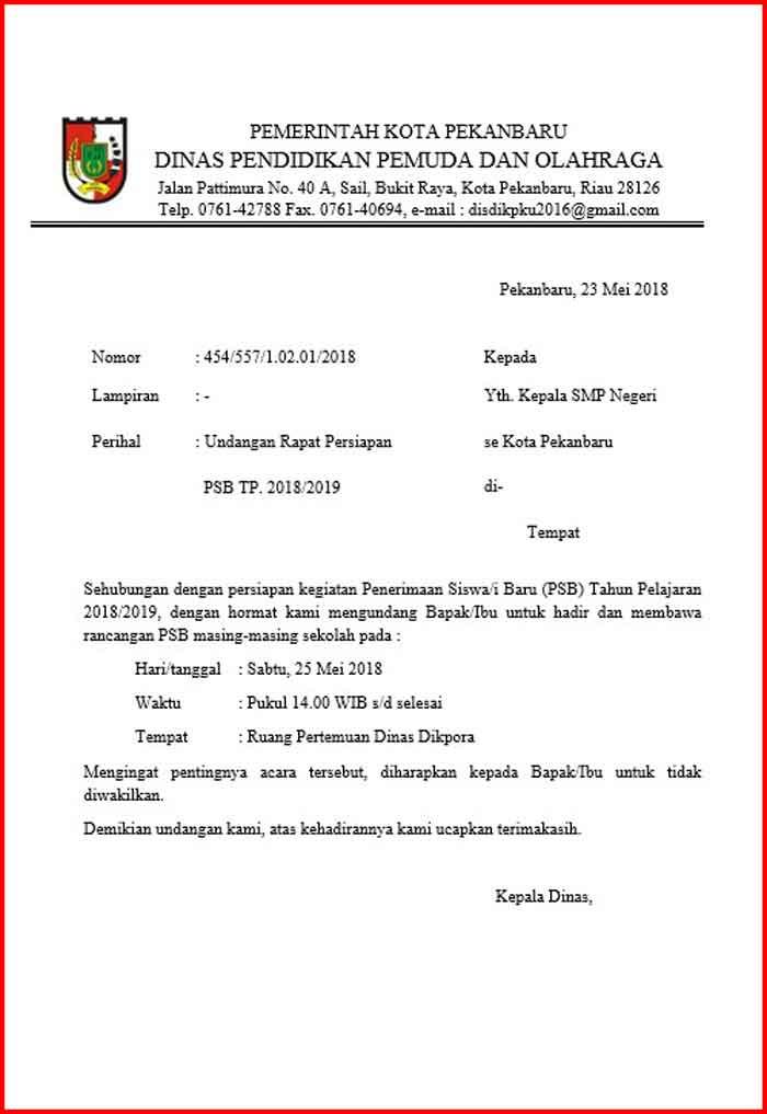 Surat Undangan Rapat Dinas sekolah