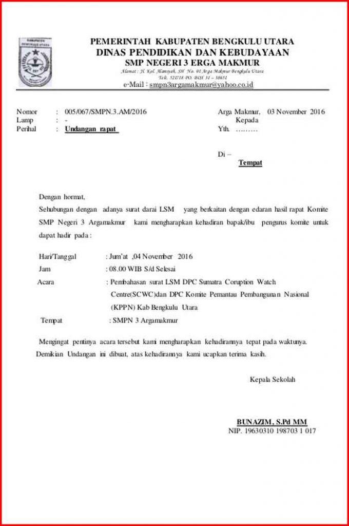 Surat Undangan Rapat Komite sekolah
