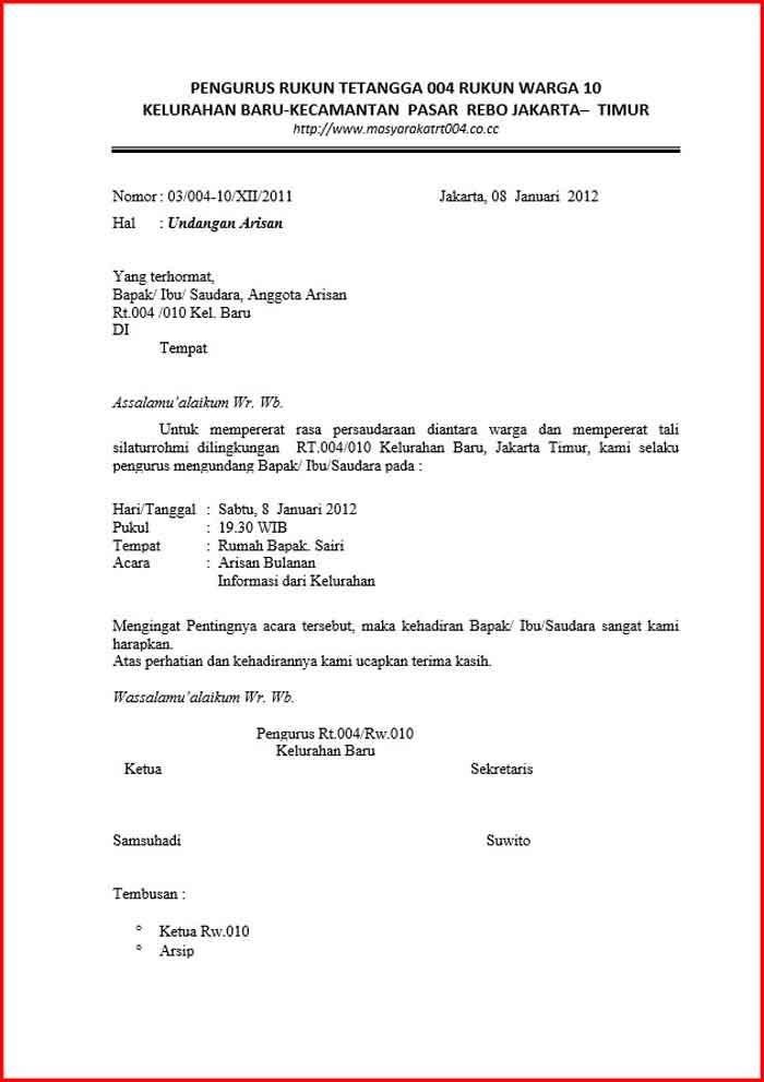 Surat Undangan Rapat RT Format Word