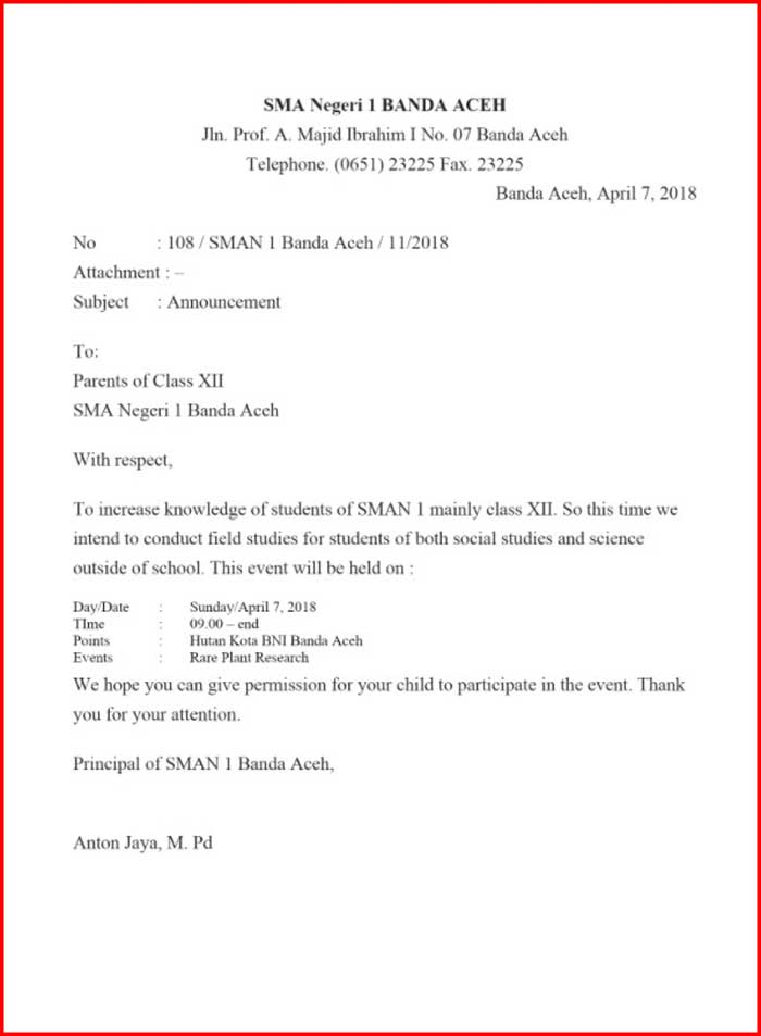 Surat Undangan Rapat Sekolah Bahasa Inggris