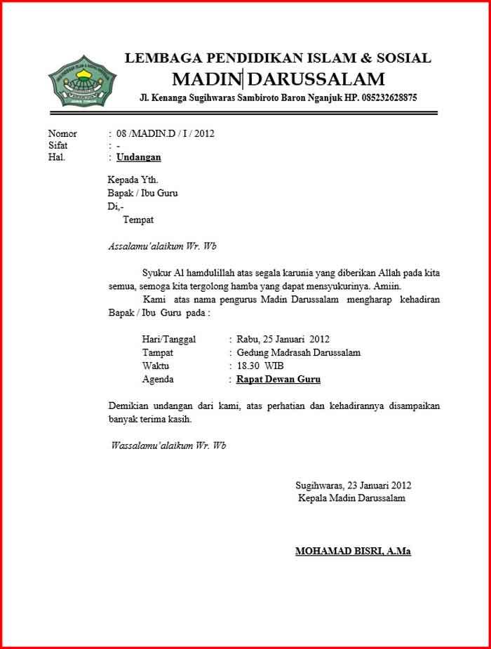 Surat Undangan Rapat Sekolah Format DOC