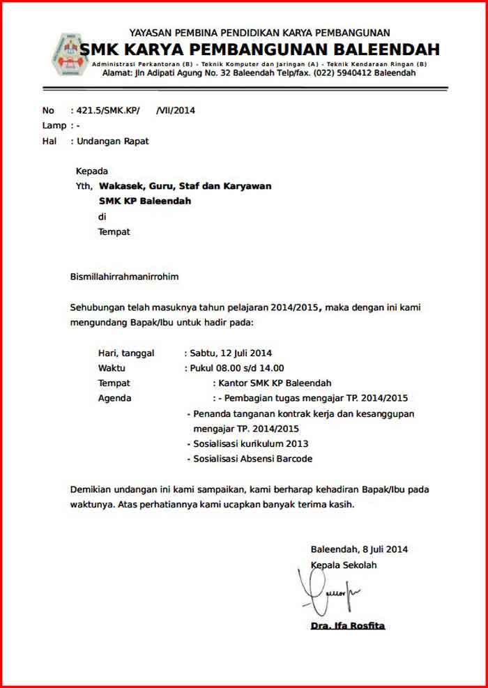 Surat Undangan Rapat Sekolah Format PDF
