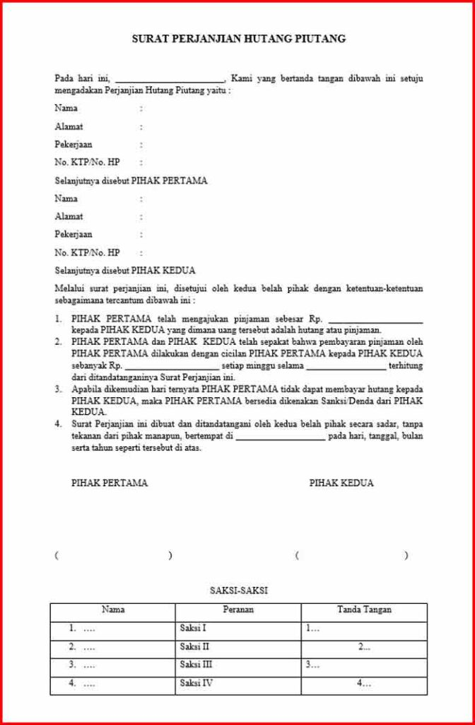 Surat Pernyataan Hutang Format DOC
