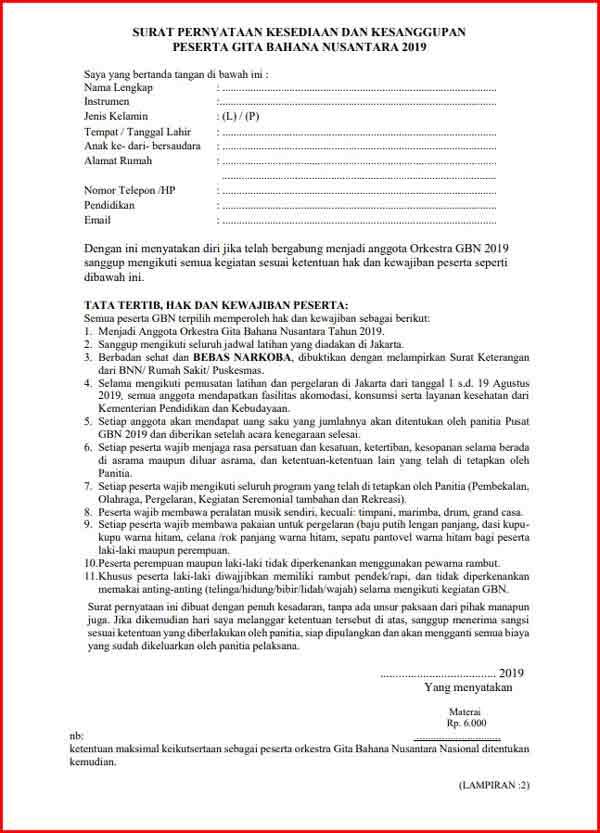 Surat Pernyataan Kesanggpan Format PDF