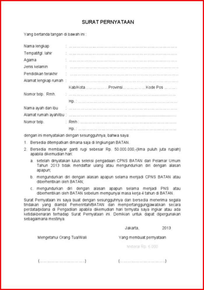 Surat Pernyataan Kesanggupan Ganti Rugi
