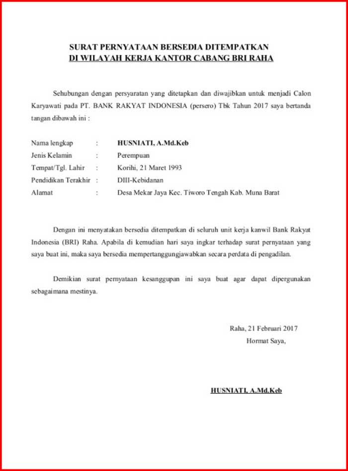 Surat Pernyataan Kesanggupan Penempatan Kerja