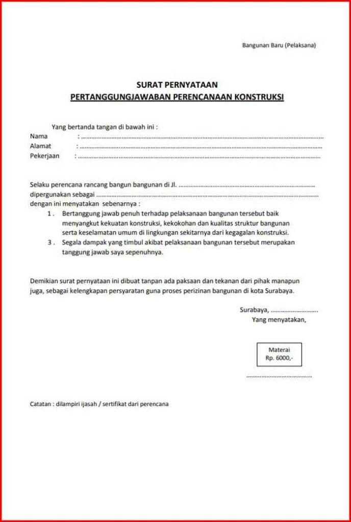 Surat Pernyataan Kesanggupan Pertanggung jawaban