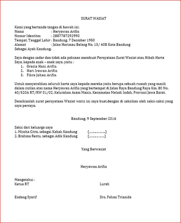 Contoh Surat Wasiat Format DOC