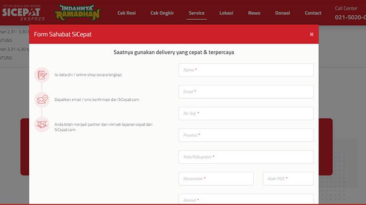 1. Cara Daftar Agen SiCepat Online