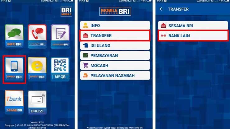 Transfer Antar Bank via BRI Mobile