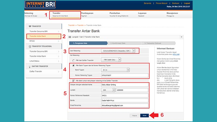 Transfer Antar Bank via Internet Banking