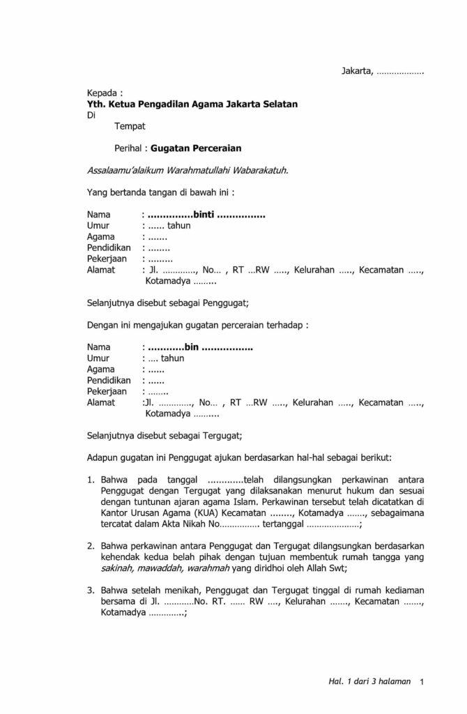 6 Contoh Surat Gugatan Cerai Sederhana Format Fungsi